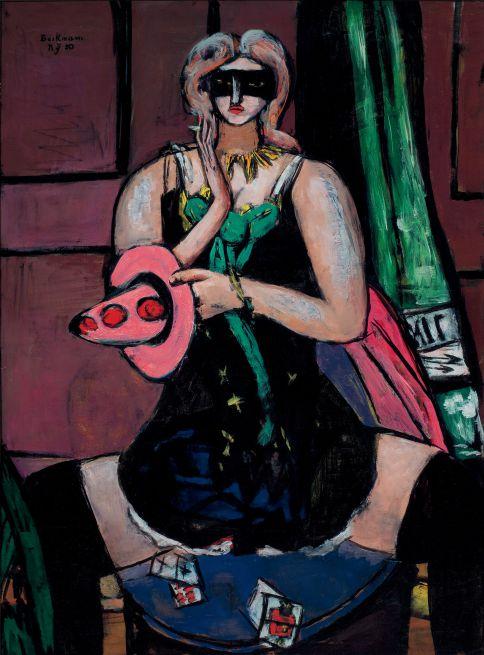 Max Beckmann, Fastnacht-Maske grün, violett und rosa, Columbine, 1950, Öl auf Leinwand, 135,9 x 100,5 cm, St. Louis, Saint Louis Art Museum, Nachlass Morton D. May