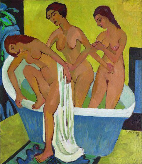 Mujeres bañándose (tríptico, lienzo central), 1914-1915/1925 Kirchner Museum Davos, donación, legado Ernst Ludwig Kirchner, 1990. © KIRCHNER MUSEUM DAVOS